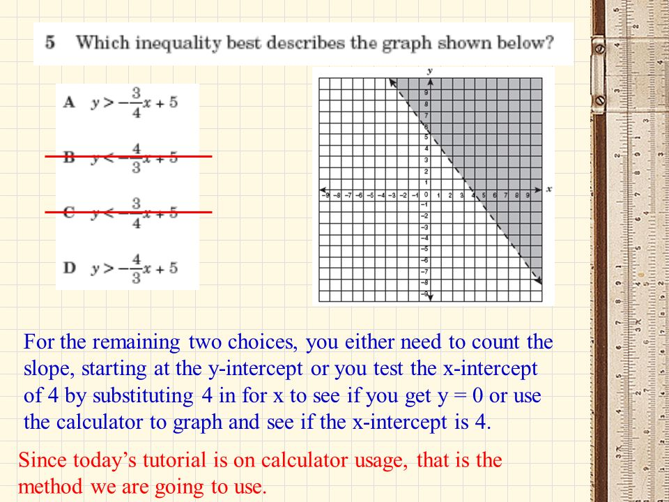 For the remaining two choices, you either need to count the slope, starting at the y-intercept or you test the x-intercept of 4 by substituting 4 in for x to see if you get y = 0 or use the calculator to graph and see if the x-intercept is 4.