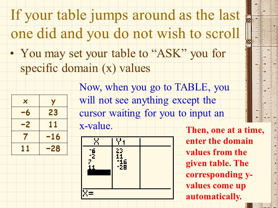 If your table jumps around as the last one did and you do not wish to scroll