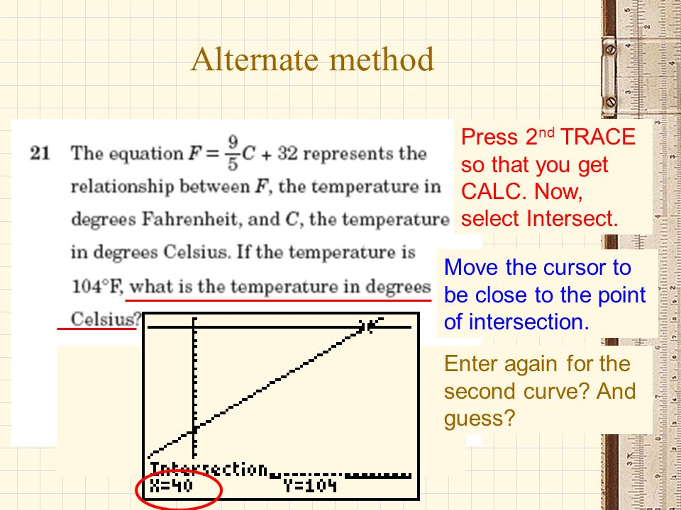 Alternate method Press 2nd TRACE so that you get CALC. Now, select Intersect. Move the cursor to be close to the point of intersection.