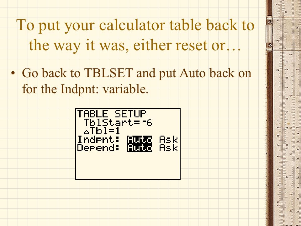 To put your calculator table back to the way it was, either reset or…