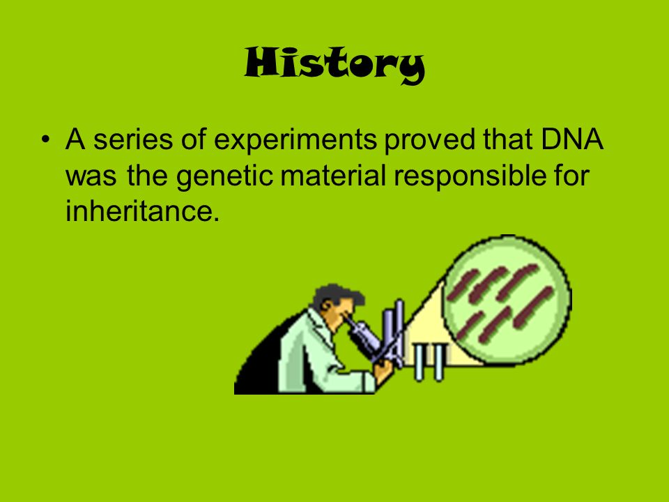 History A series of experiments proved that DNA was the genetic material responsible for inheritance.