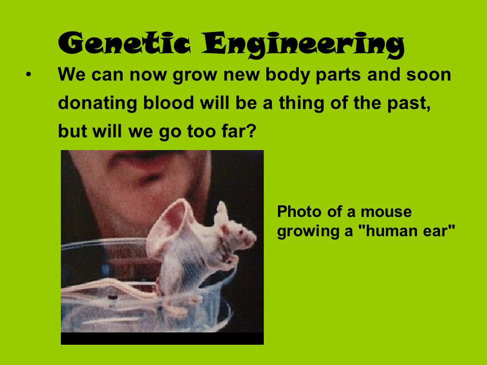 Genetic Engineering We can now grow new body parts and soon donating blood will be a thing of the past, but will we go too far