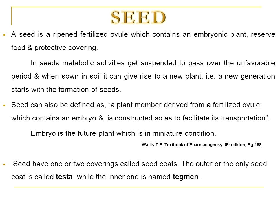 SEED A seed is a ripened fertilized ovule which contains an embryonic plant, reserve food & protective covering.
