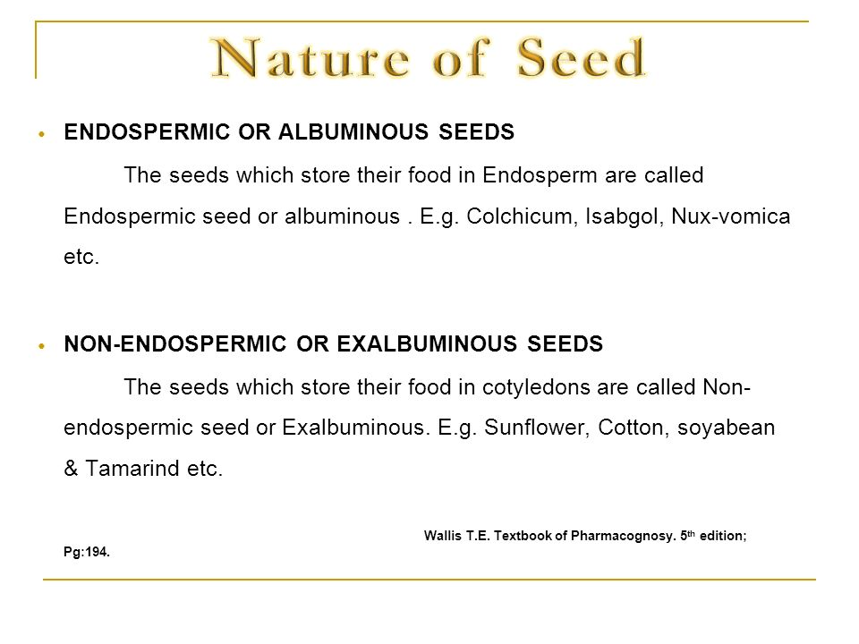 Nature of Seed ENDOSPERMIC OR ALBUMINOUS SEEDS