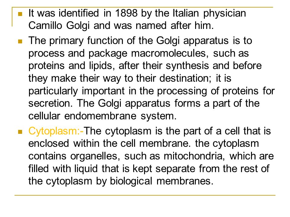 It was identified in 1898 by the Italian physician Camillo Golgi and was named after him.