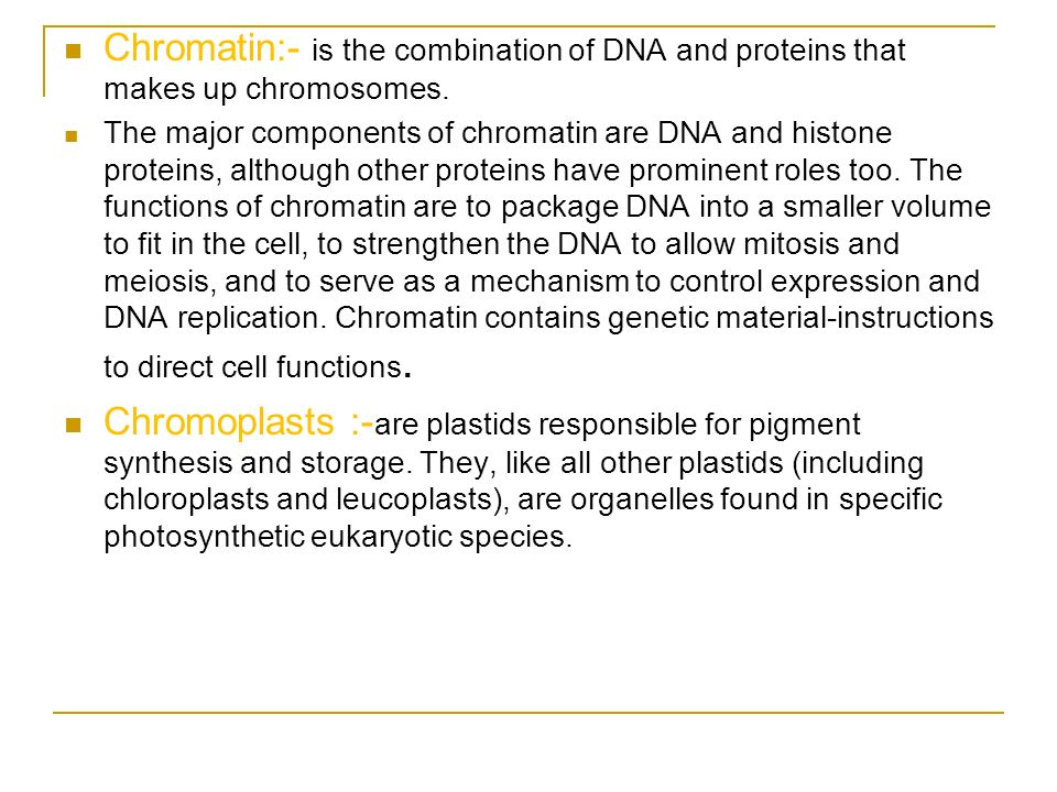 Chromatin:- is the combination of DNA and proteins that makes up chromosomes.
