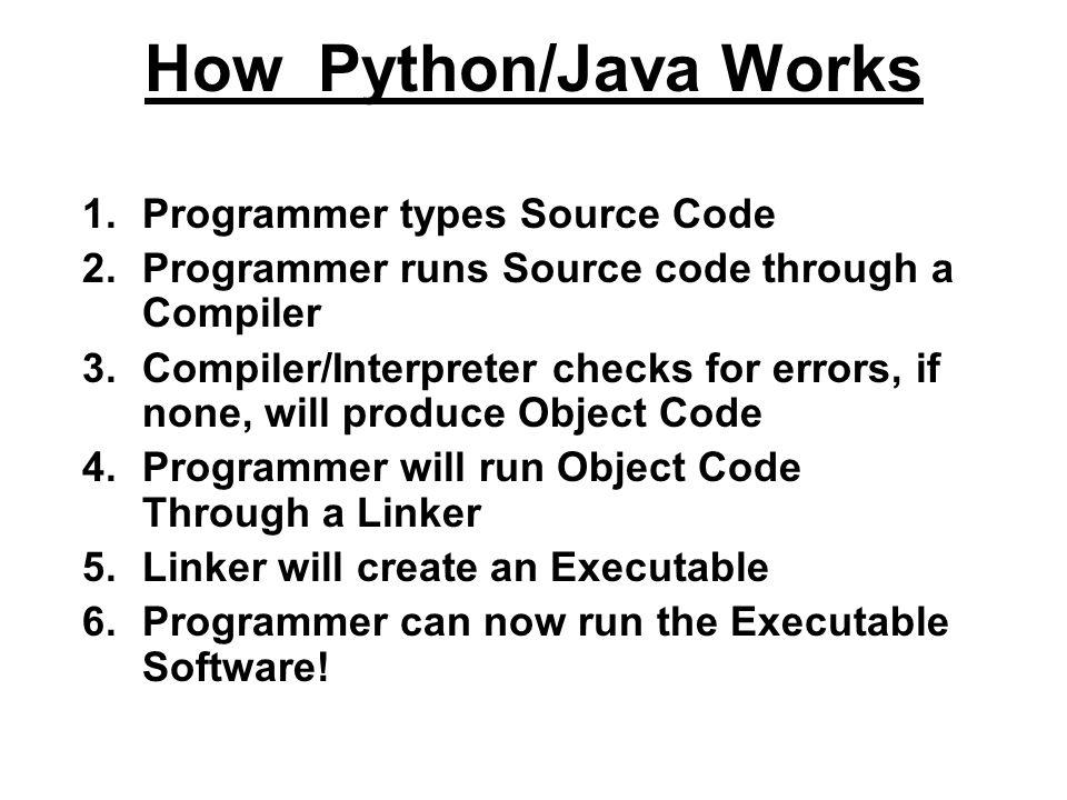 How Python/Java Works Programmer types Source Code
