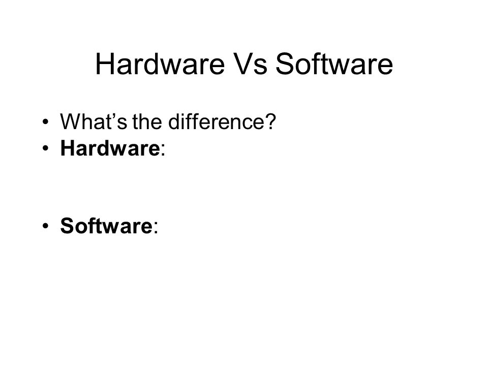 Hardware Vs Software What's the difference Hardware: Software: