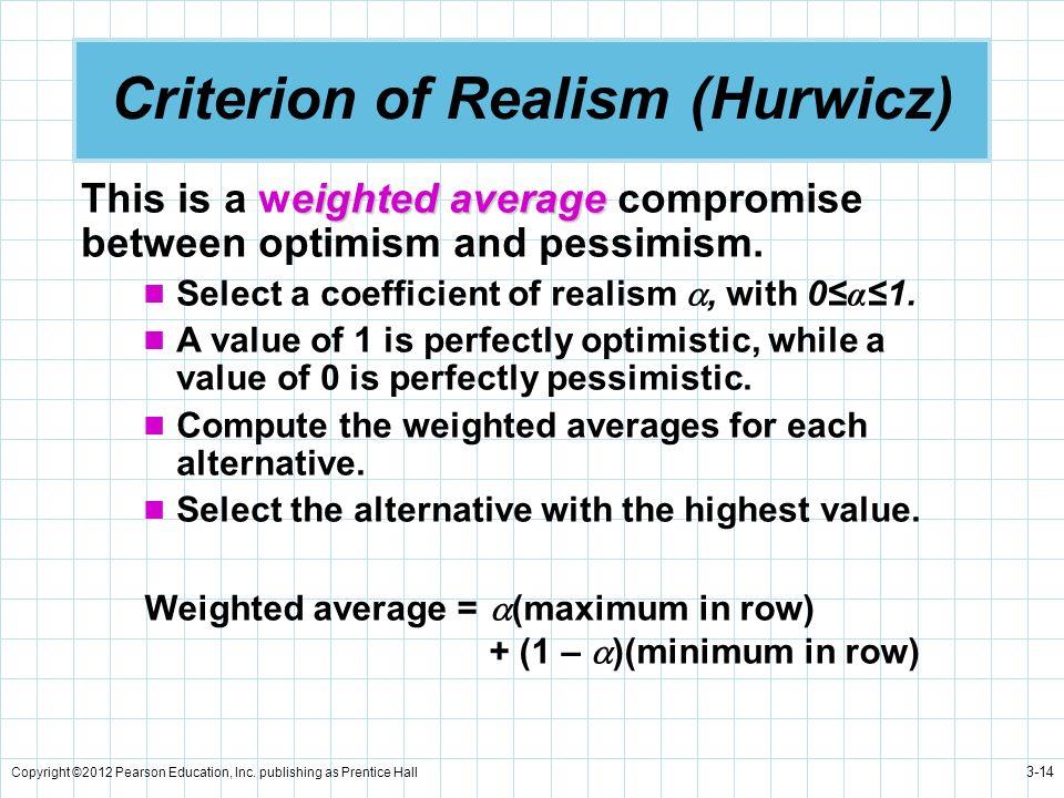 Criterion of Realism (Hurwicz)