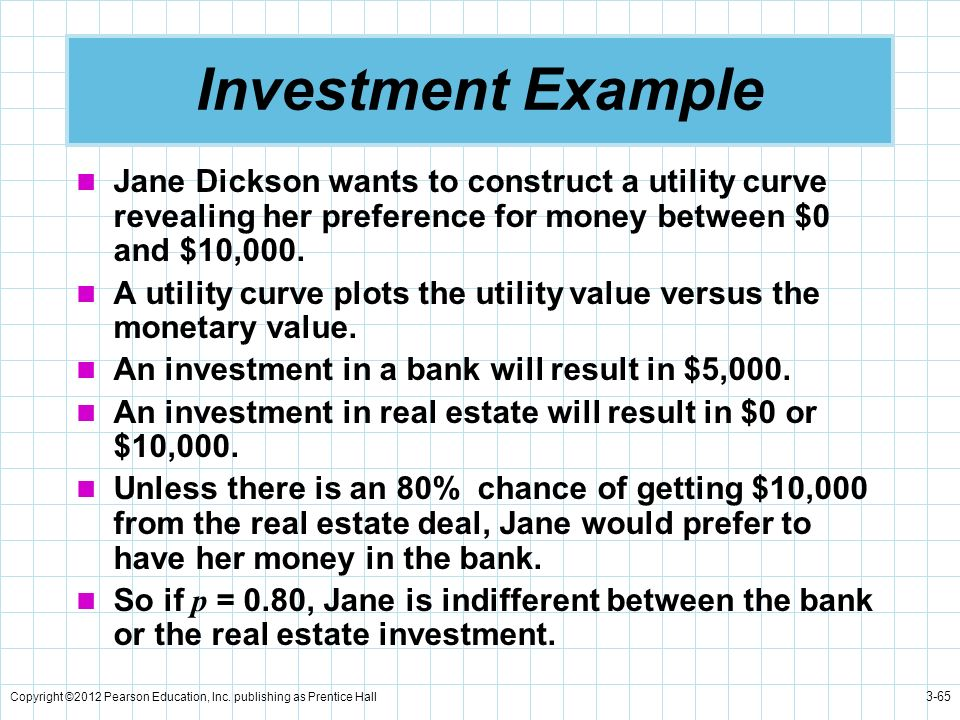 Investment Example Jane Dickson wants to construct a utility curve revealing her preference for money between $0 and $10,000.