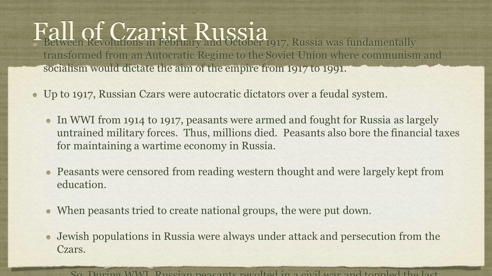 Fall of Czarist Russia