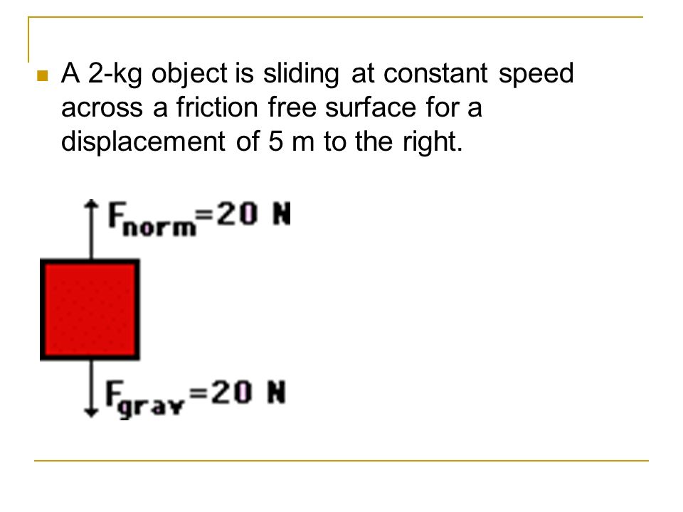 A 2-kg object is sliding at constant speed across a friction free surface for a displacement of 5 m to the right.