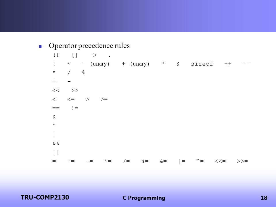 Operator precedence rules