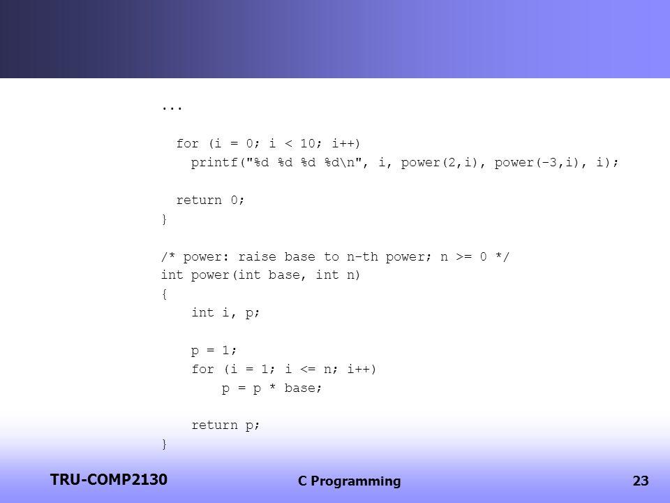 TRU-COMP2130 ... for (i = 0; i < 10; i++)
