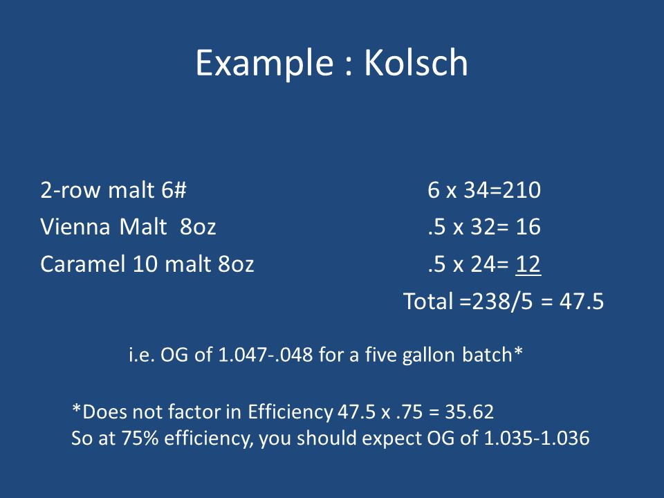 Example : Kolsch 2-row malt 6# Vienna Malt 8oz Caramel 10 malt 8oz