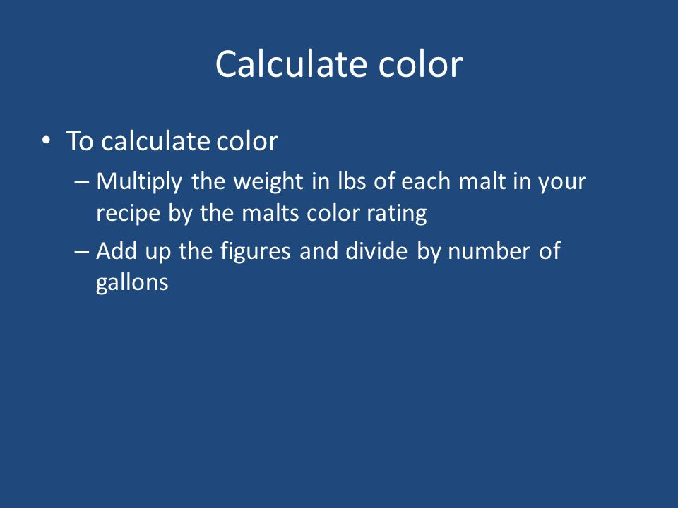 Calculate color To calculate color