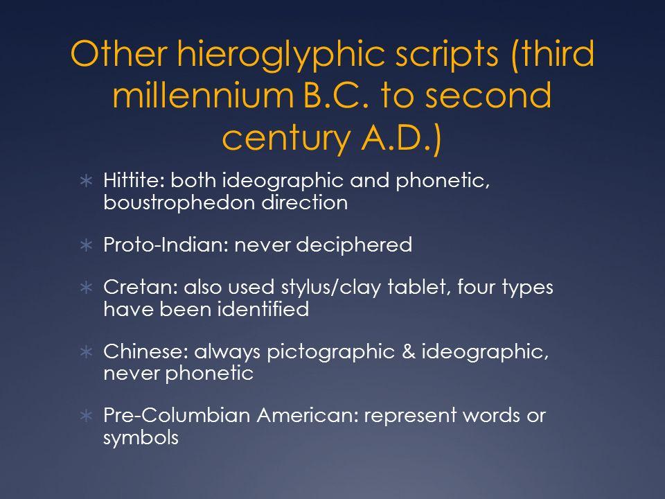 Other hieroglyphic scripts (third millennium B. C. to second century A