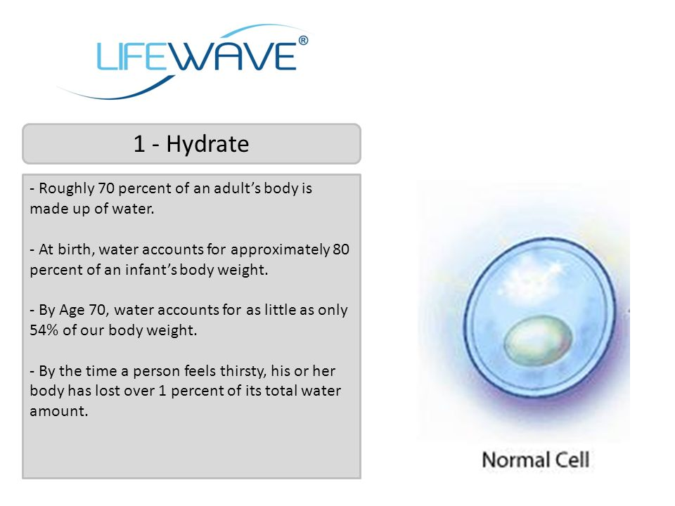 1 - Hydrate - Roughly 70 percent of an adult's body is made up of water.
