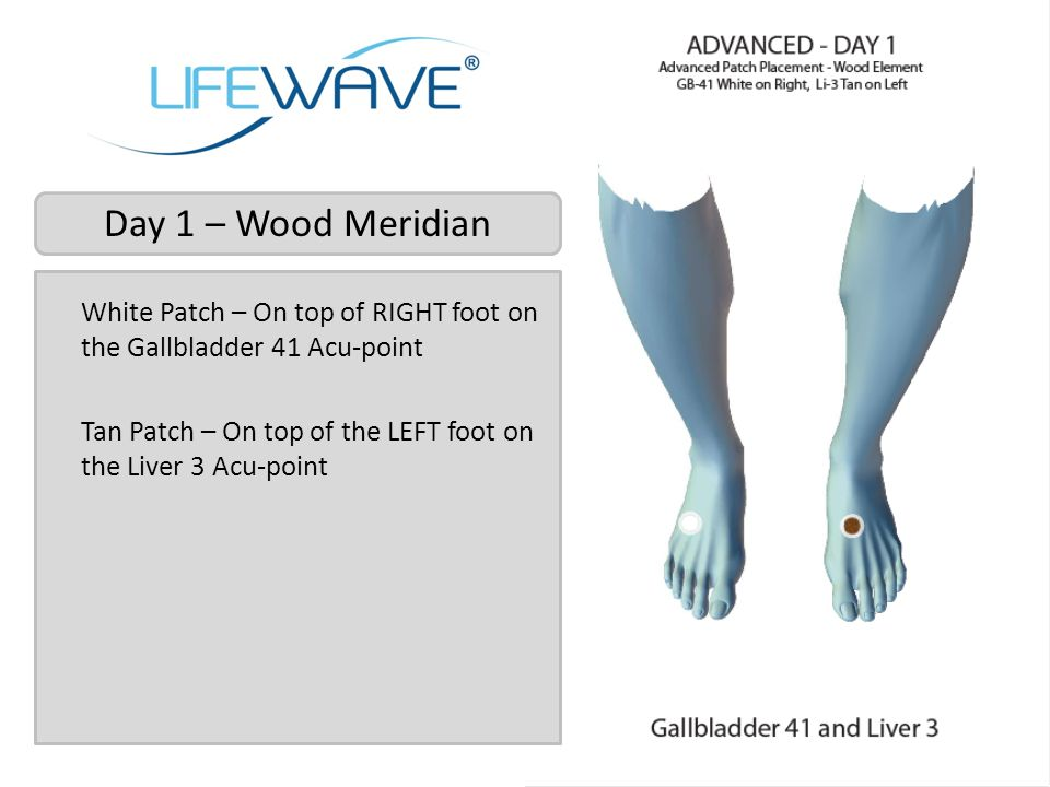 Day 1 – Wood Meridian White Patch – On top of RIGHT foot on the Gallbladder 41 Acu-point.