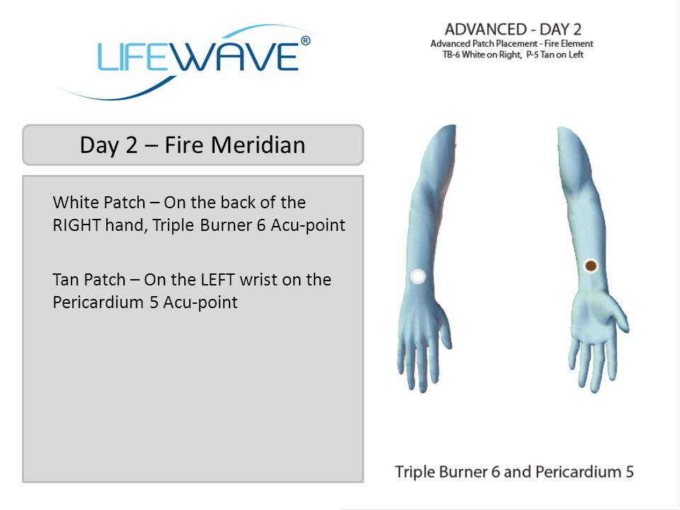 Day 2 – Fire Meridian White Patch – On the back of the RIGHT hand, Triple Burner 6 Acu-point.
