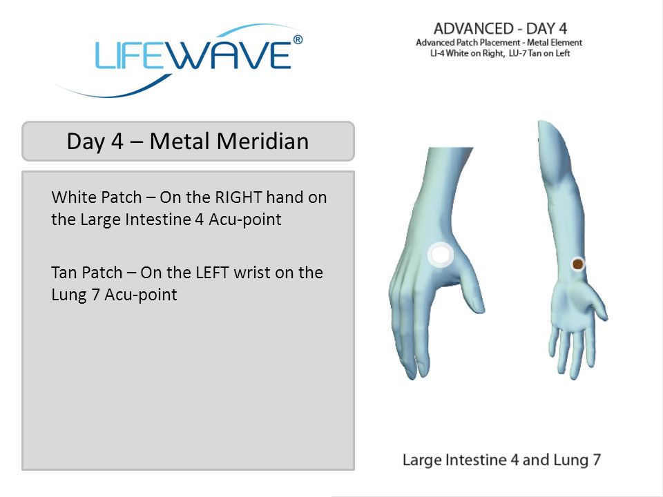 Day 4 – Metal Meridian White Patch – On the RIGHT hand on the Large Intestine 4 Acu-point.