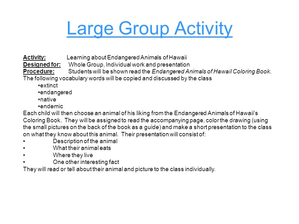 Large Group Activity Activity: Learning about Endangered Animals of Hawaii.