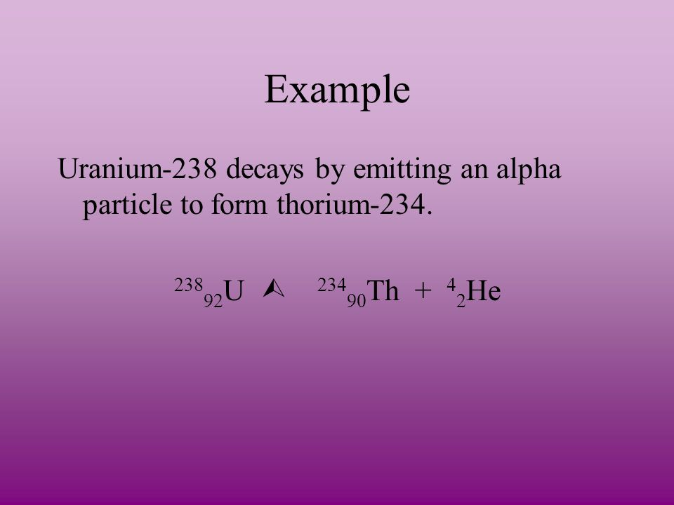 Example Uranium-238 decays by emitting an alpha particle to form thorium-234.