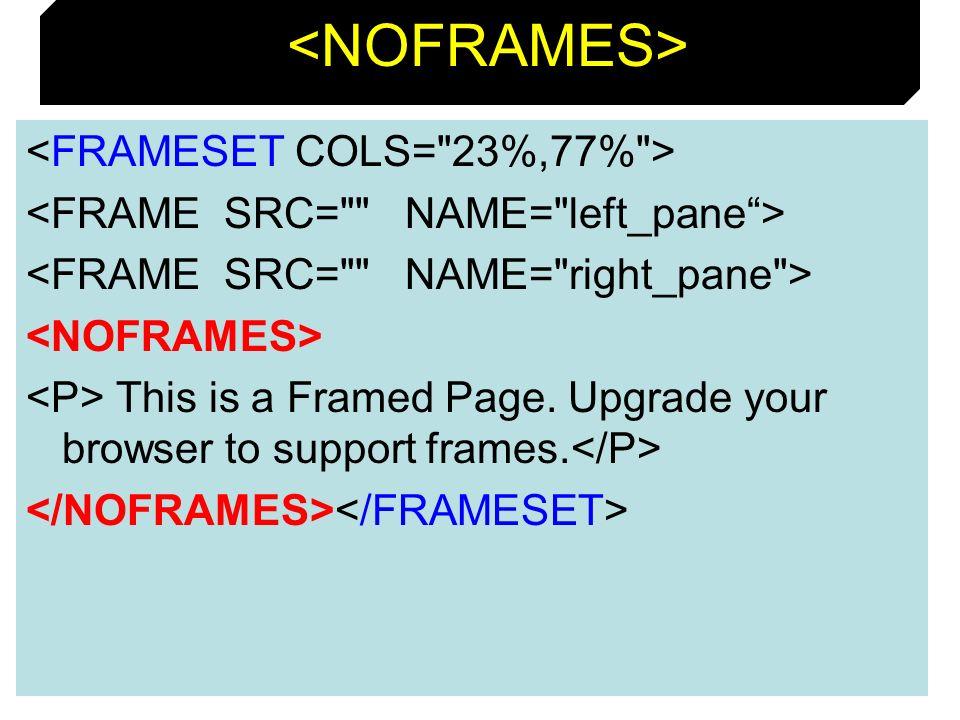 <NOFRAMES> <FRAMESET COLS= 23%,77% >
