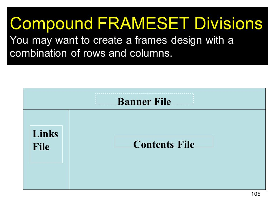 Compound FRAMESET Divisions You may want to create a frames design with a combination of rows and columns.