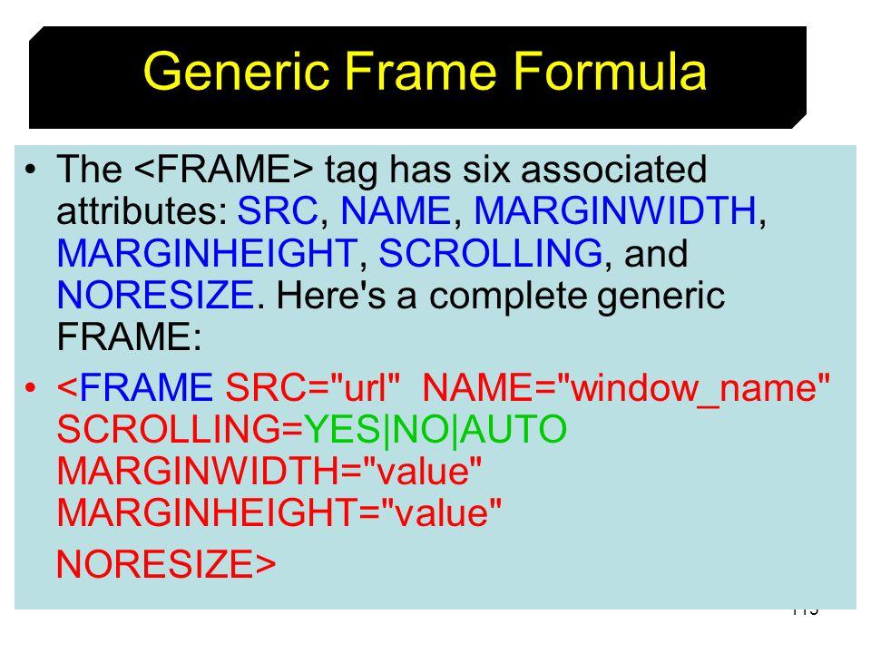 Generic Frame Formula
