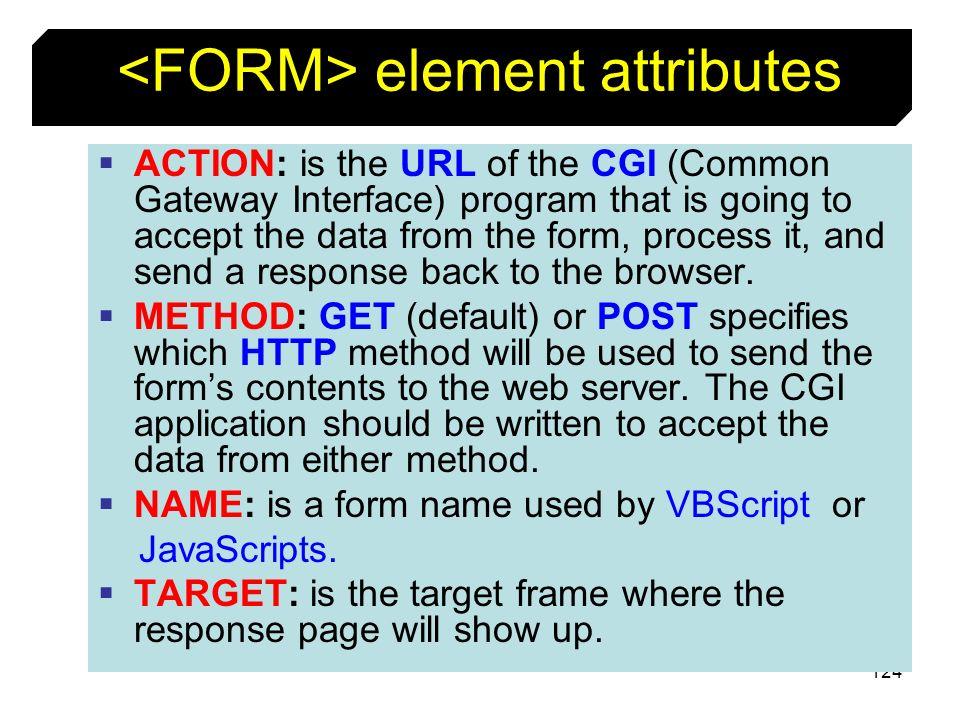 <FORM> element attributes
