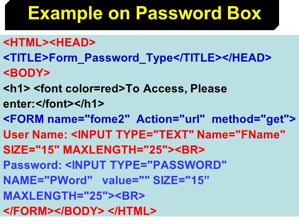 Example on Password Box