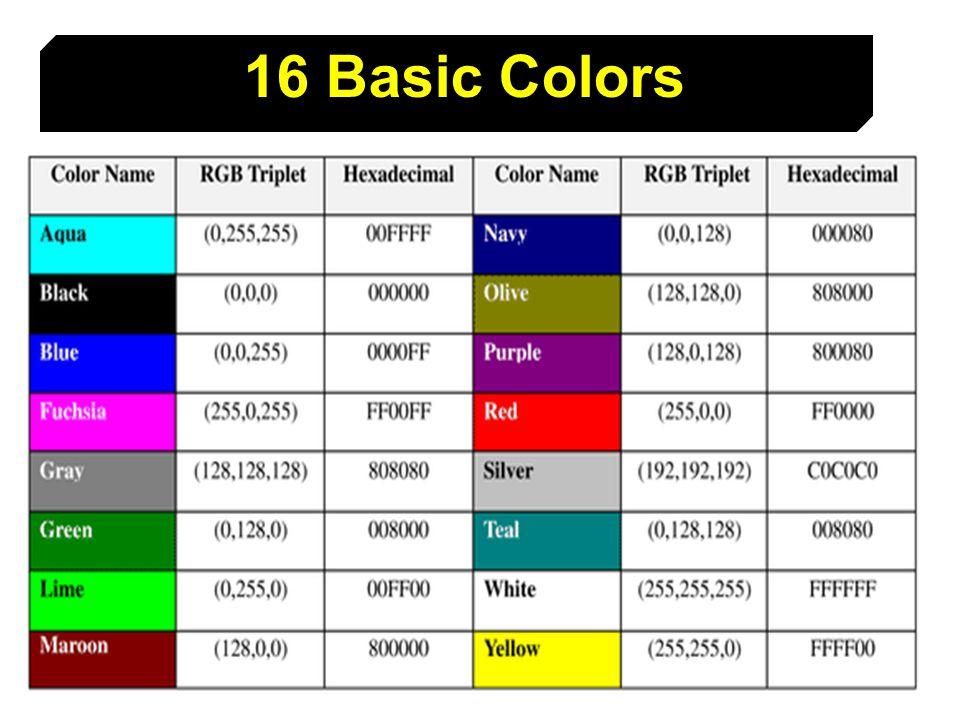 16 Basic Colors