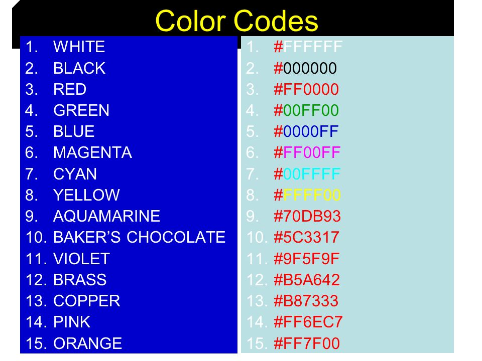 Color Codes WHITE BLACK RED GREEN BLUE MAGENTA CYAN YELLOW AQUAMARINE