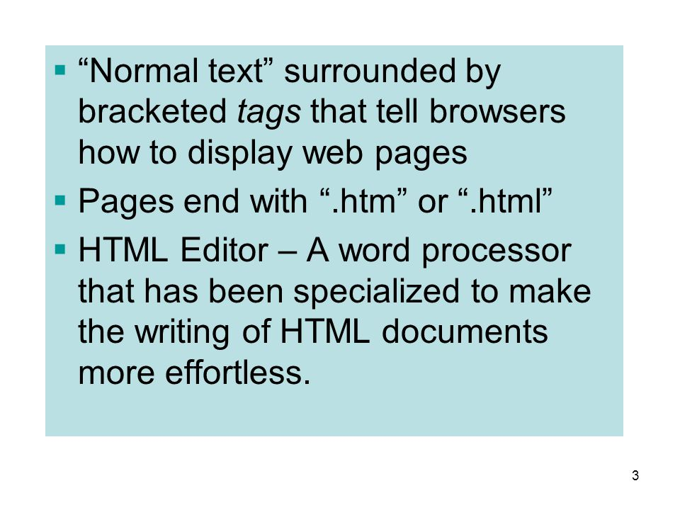 Pages end with .htm or .html