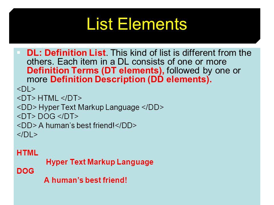 List Elements