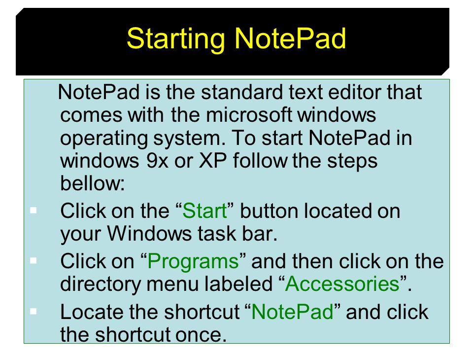 Starting NotePad