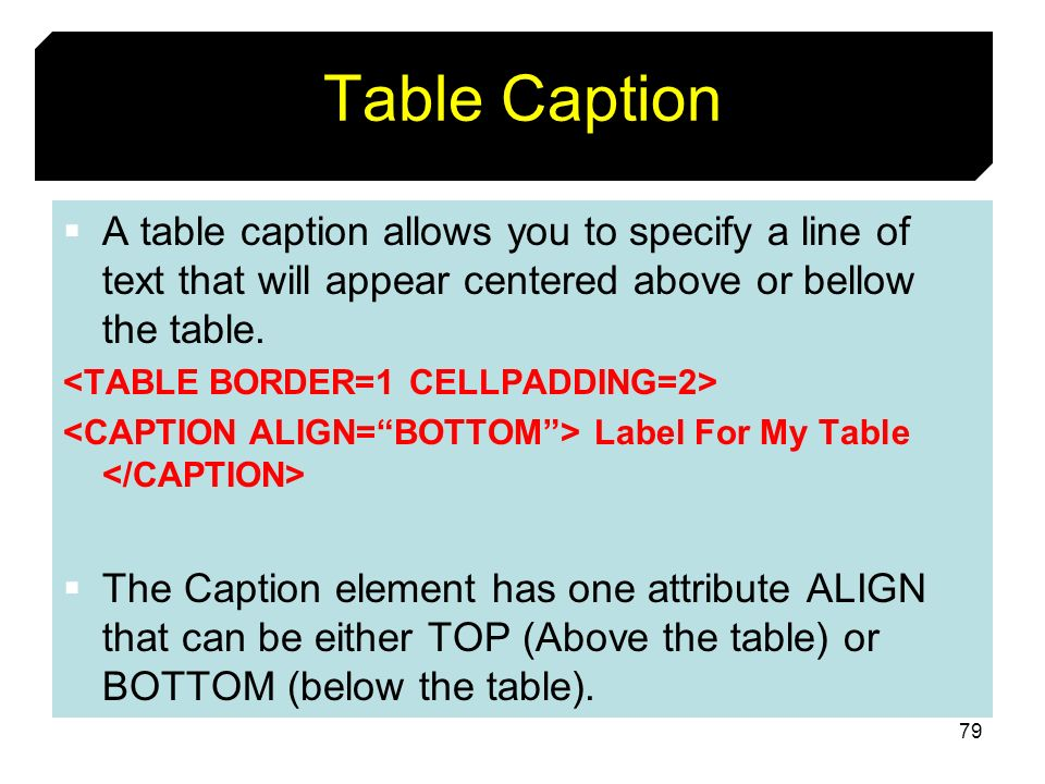 Table CaptionA table caption allows you to specify a line of text that will appear centered above or bellow the table.