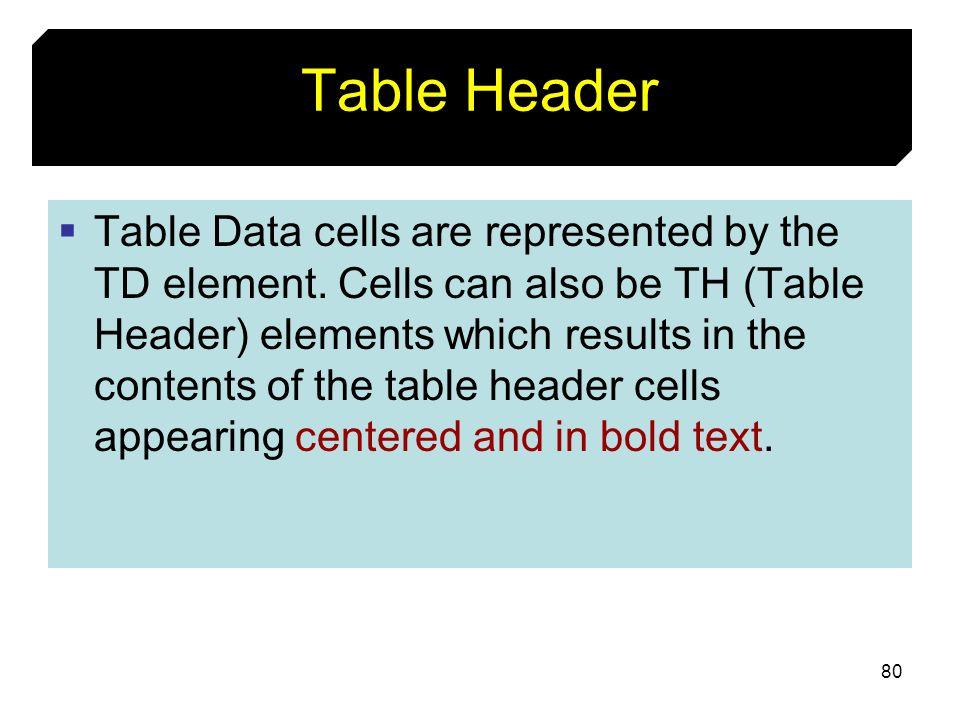 Table Header