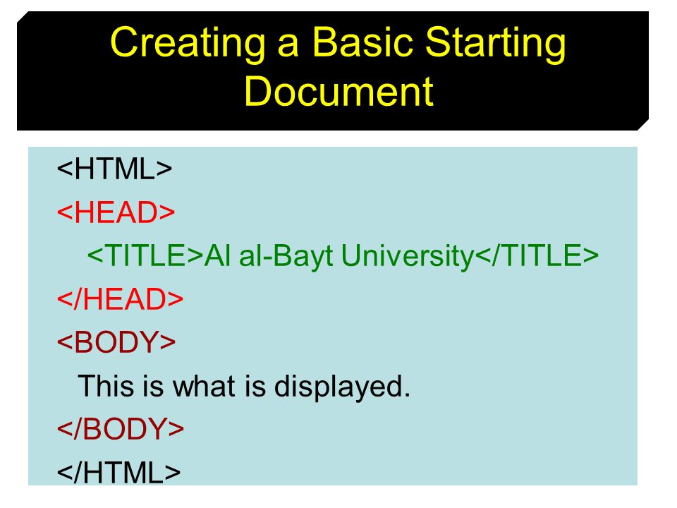 Creating a Basic Starting Document