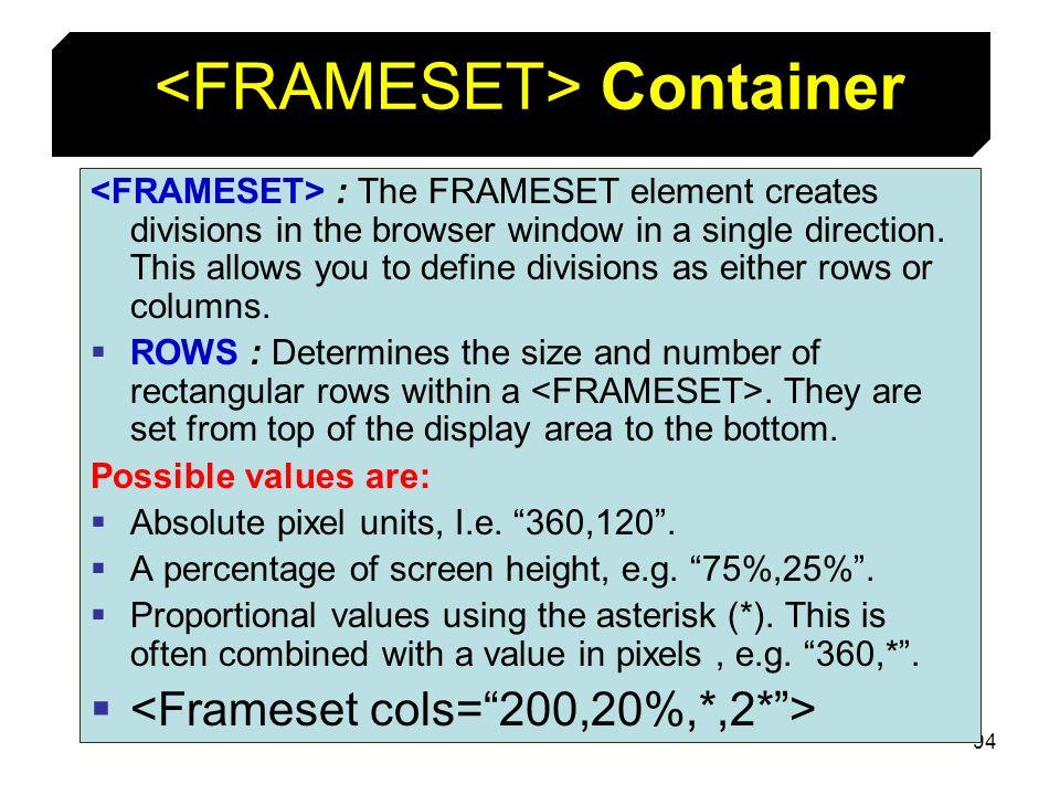 <FRAMESET> Container