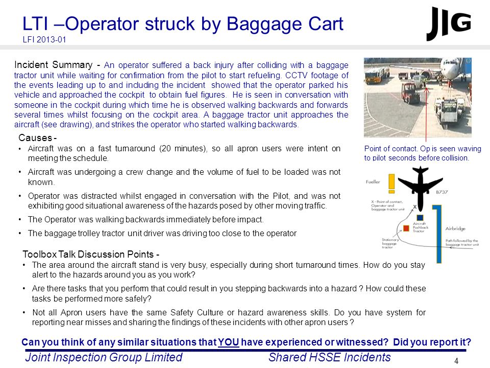 LTI –Operator struck by Baggage Cart
