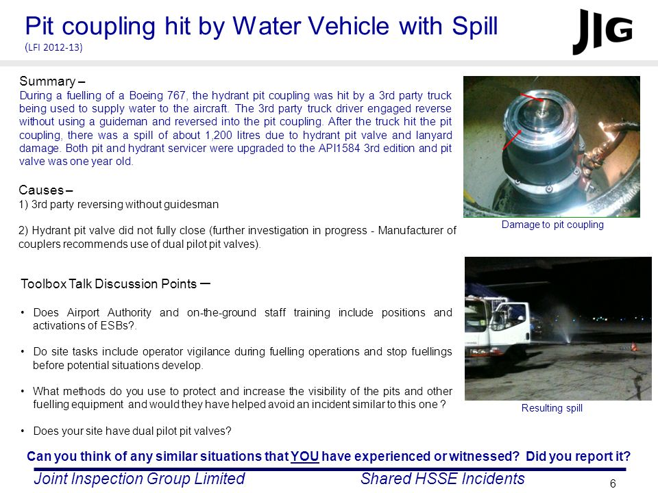 Pit coupling hit by Water Vehicle with Spill (LFI 2012-13)