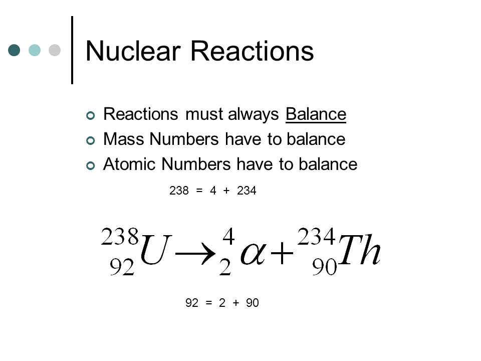 Nuclear Reactions Reactions must always Balance