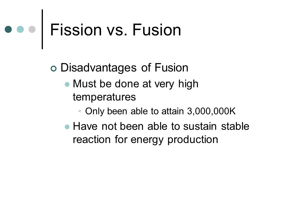 Fission vs. Fusion Disadvantages of Fusion