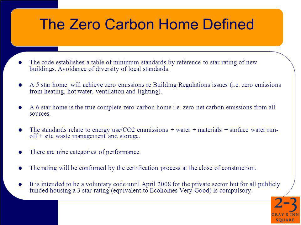 The Zero Carbon Home Defined