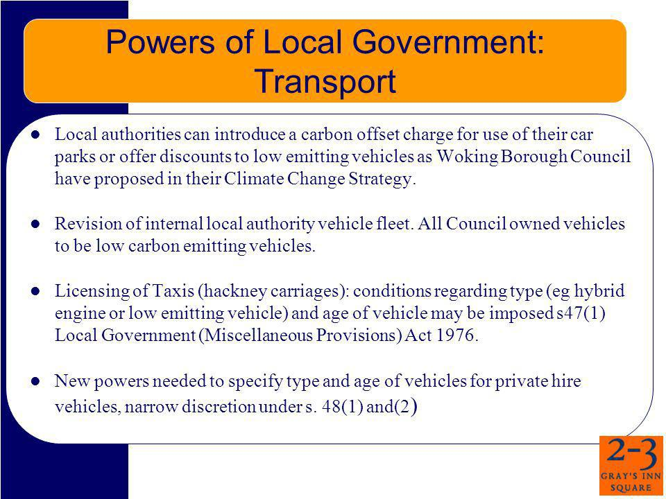 Powers of Local Government: Transport