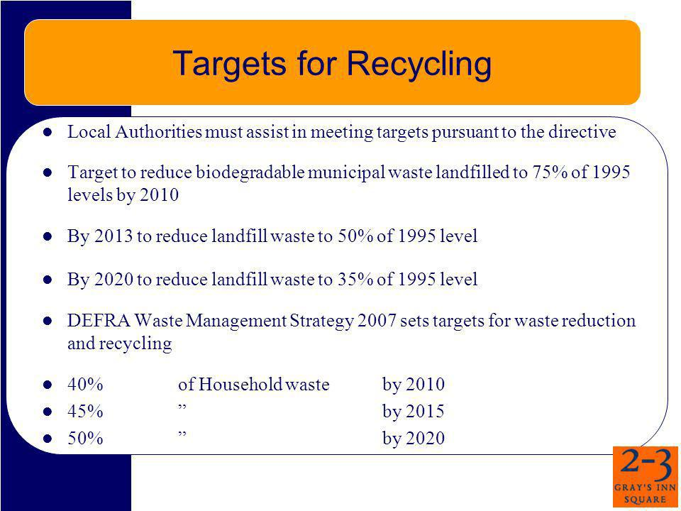 Targets for Recycling Local Authorities must assist in meeting targets pursuant to the directive.