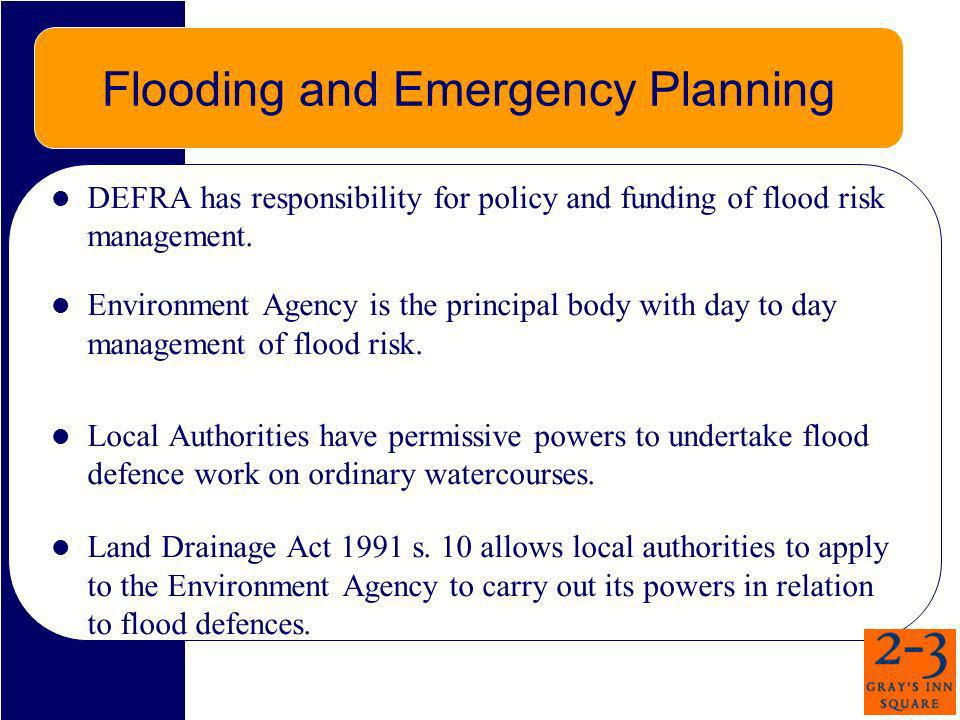 Flooding and Emergency Planning