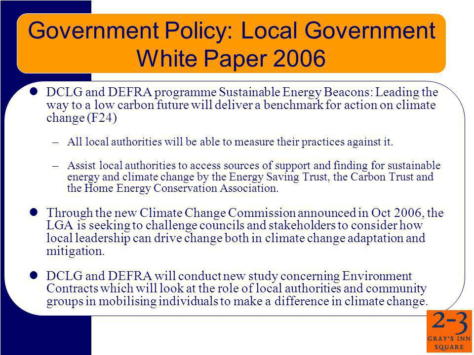 Government Policy: Local Government White Paper 2006